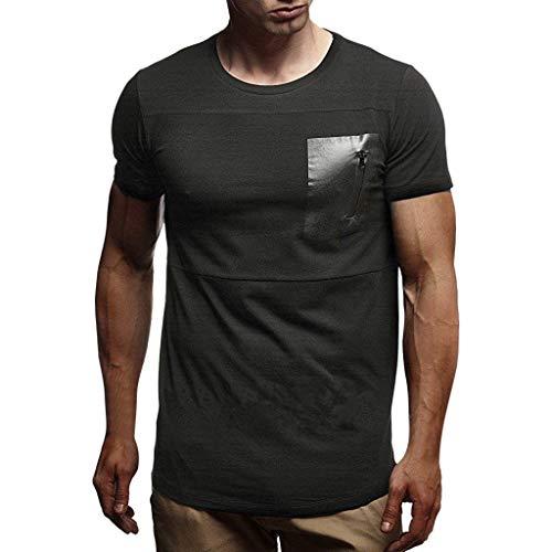 iYYVV Mens Summer T-Shirt Short Sleeve Crew Neck Muscle Basic Tops Slim Fit Zip Pocket -