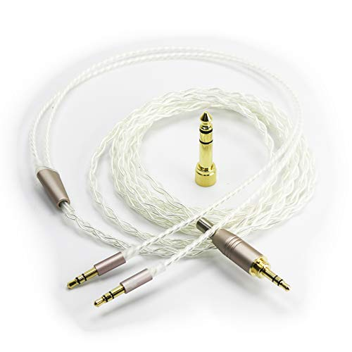 """NewFantasia Silver Plated Replacement Cable with Dual 3.5mm Male to 3.5mm 1/8"""" Male and 6.3mm 1/4"""" Adapter Compatible with Hifiman HE4XX, HE-400i (The Latest Version with Both 3.5mm Plug) Headphones"""