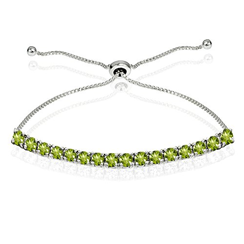 Sterling Silver 3mm Peridot Round-cut Chain Adjustable Pull-String Bolo Slider Tennis Bracelet for Women Teens Girls