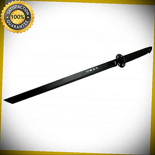 27.5'' STAINLESS STEEL NINJA BLACK SWORD WITH SHEATH 5203 for Hunting Camping Cosplay ()