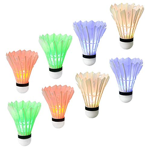 Ohuhu LED Badminton Shuttlecocks, Dark Night Glow Birdies Lighting for Outdoor Indoor Sports Activities, 8-Pack