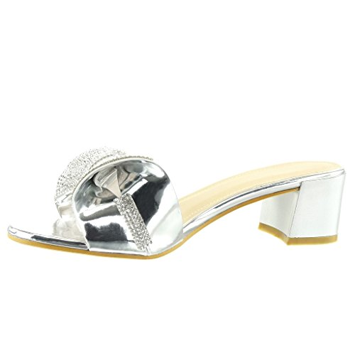 Angkorly - damen Schuhe Sandalen Flip-Flops - Slip-On - fliege - Strass Blockabsatz high heel 5 CM - Silber