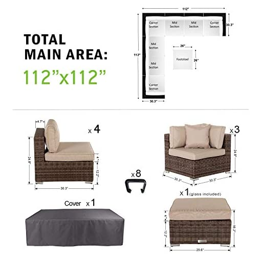 Garden and Outdoor SUSIE'S GARDEN Wicker Patio Furniture Conversation Set No Assembly Outdoor Sectional Sofa Aluminum Brown Couch Modern… patio furniture sets