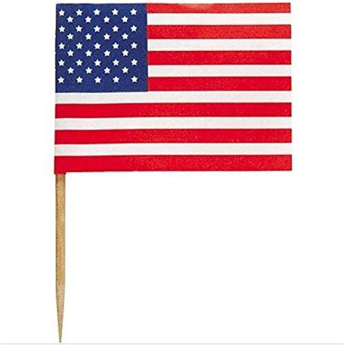 wonderfulwu American Flag Cocktail Pick,Toothpick Flag Made of