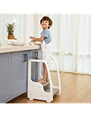 Mangohood Height Adjustable Two Step Standing Stool with Handles Non-Slip Safety for Toddlers Children Kids Potty Training Kitchen Helper Learning Tower