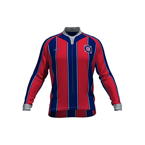MLS Chicago Fire Women's Original Striped Long Sleeve Cycling Jersey, Large, Red