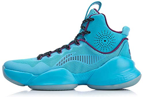 LI-NING CJ McCollum Men Power V Play Off Professional Basketball Shoes Cushioning Lining Cloud High-Cut Sport Shoes Sneakers Blue ABAN045-6H US 10 ()