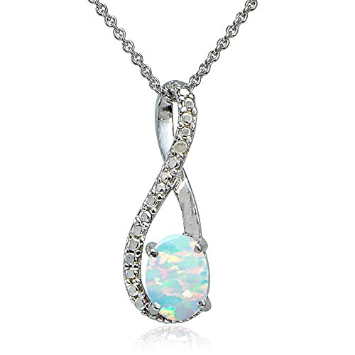 (Sterling Silver Created White Opal & Diamond Accent Twist)