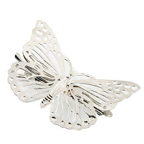 Orcbee  _Shiny Golden Butterfly Hair Clip Headband Hair Accessories Headpiece (Silver)