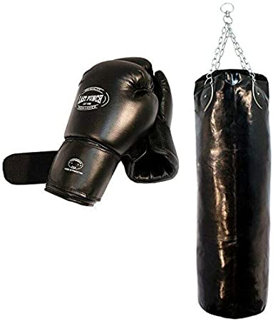 PUNCHING BAG WITH CHAINS Sparring MMA Boxing Training Leather Heavy Duty Empty