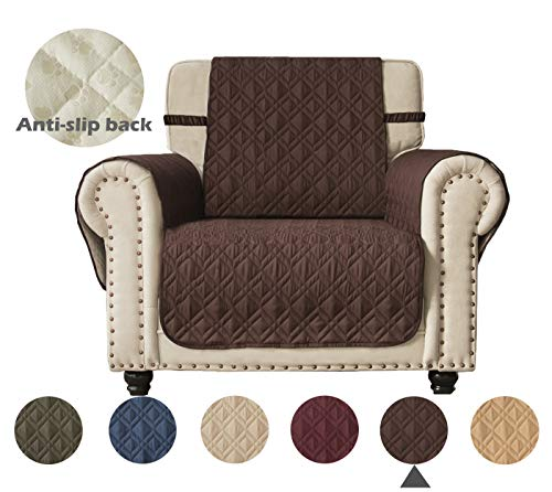 Ameritex Waterproof Nonslip Sofa Cover for Leather, Dog Couch Chair Cover Furniture Protector, Ideal Sofa Slipcovers for Pets and Kids, Stay in Place (Pattern1:Chocolate, Chair) (Sofa Loveseat Chocolate Brown Leather And)