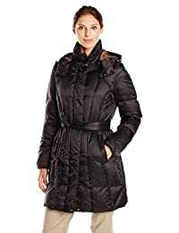 Geox Women's Mid Length Belted Down Jacket with Hood
