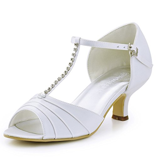ElegantPark EL-035 Women Peep Toe T-Strap Pumps Mid Heel Rhinestones Satin Wedding Bridal Sandals White US 10