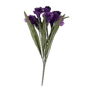 FloristryWarehouse Iris Bush 8 Stem Artificial Silk Flowers 44cm Purple 109
