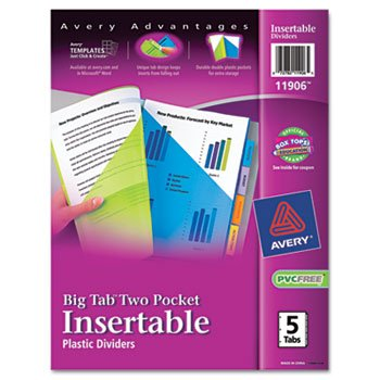5 Pocket Design (Avery 11906 Insertable Big Tab Plastic Dividers w/Double Pockets, 5-Tab, 11 x 9)