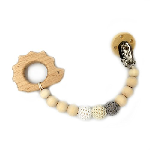 Amyster Baby Teething Toy Wooden Hedgehog Teether Animal Pacifier Clip Eco-friendly Clip Chewable Infant Holder Baby Teether Toys