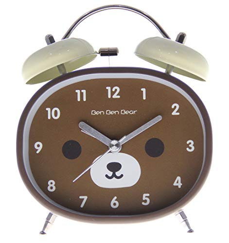 Desk Bear Clock (JustNile 4-inch Twin Bell Non-ticking Battery Operated Metal Loud Alarm Clock with Built-in Backlight, Cute Brown Bear Design)