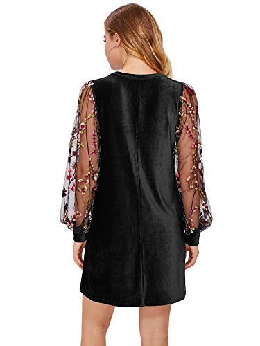 DIDK-Womens-Velvet-Tunic-Dress-With-Embroidered-Floral-Mesh-Bishop-Sleeve