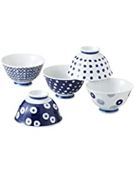 Hasami Found Pottery Blue Round Crest Lighter Rice Bowl 5 Set 3 Sets Sold 13303 Aroma