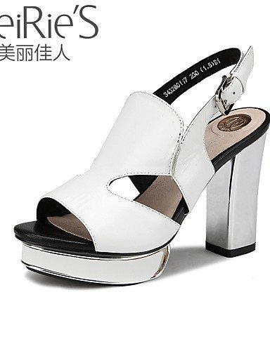 ShangYi Womens Shoes Sheepskin Chunky Heel Heels/Open Toe Sandals Office & Career/Casual Black/Pink/White White
