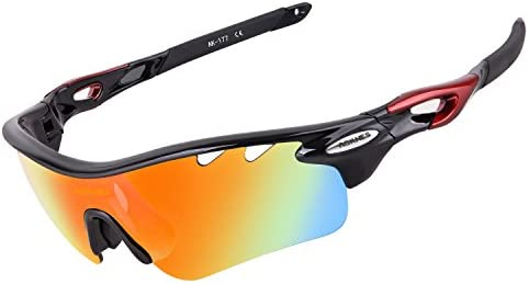 513f52820d AOKNES Polarized Sports Sunglasses with 5 Interchangeable Lenses for Men  Women Cycling Baseball Running Fishing Driving