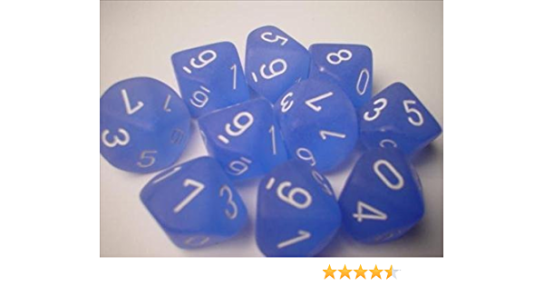 10 Frosted Caribbean Blue with White Chessex Dice Sets Ten Sided Die d10 Set