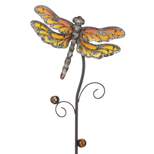 Regal Art & Gift Garden Rustic Dragonfly 10 Inches X1.75 Inches X38 Inches Metal Glass Stake-Rain Gauges