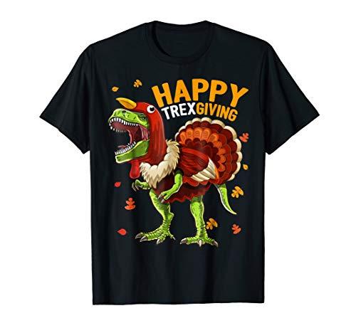 Happy Thanksgiving T Rex Dinosaur Turkey Shirt Gift for Boys