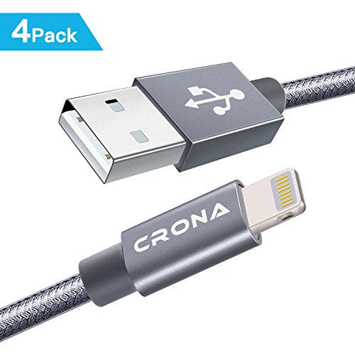 Lightning Cable  Crona 4Pack  1Ft 3Ft 6Ft 6Ft  Nylon Braided 8 Pin Iphone Charging Cable Usb Charger Cord For Iphone 8 8 Plus 7 7 Plus  6S 6S Plus  6  6 Plus 5 5S 5C Se Ipad And Ipod  Gray