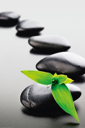 Zen Stones-Green Poster 24 x 36in with Poster Hanger