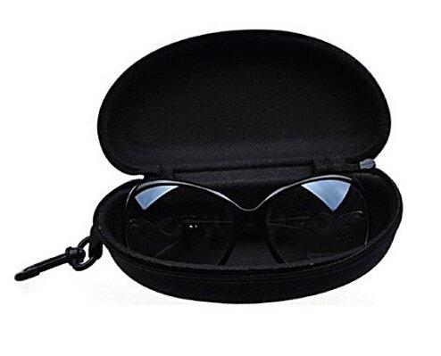 Hosaire 1X Boîte étui à lunettes Boîte de Protection de Lunettes de Soleil avec Fermetures à glissière et crochets -Noir
