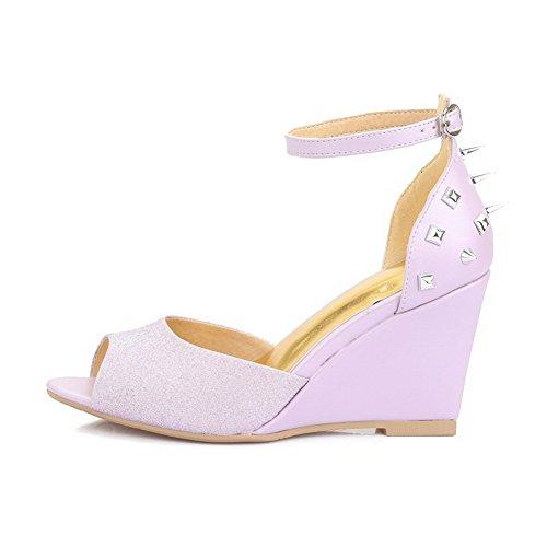 Purple Women's AgooLar High Toe Heels Solid Buckle Sandals Open 77wr8
