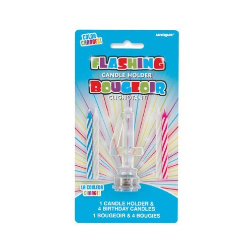 Multicolor Flashing Number 4 Cake Topper & Birthday Candle Set, 5pc (Number Cake Topper 4)