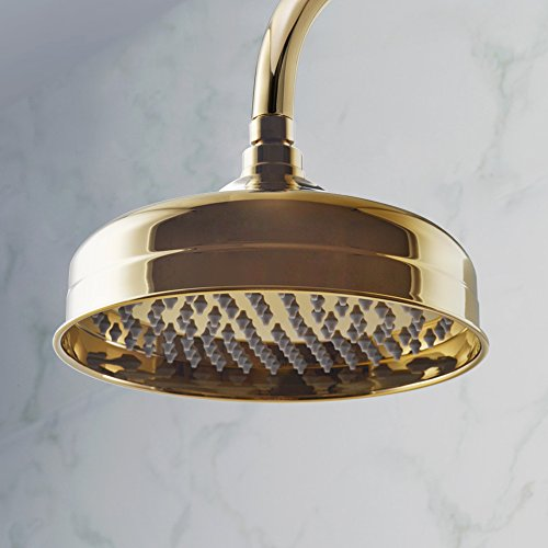 KES METAL 8-Inch Extra Big Rainfall Shower Head Replacement Part for Bathroom Shower System Overhead Showerhead Traditional Style Titanium Gold, (Gold Showerhead System)
