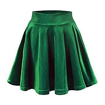 Urban CoCo Women's Vintage Velvet Stretchy Mini Flared Skater Skirt (L, Dark Green)