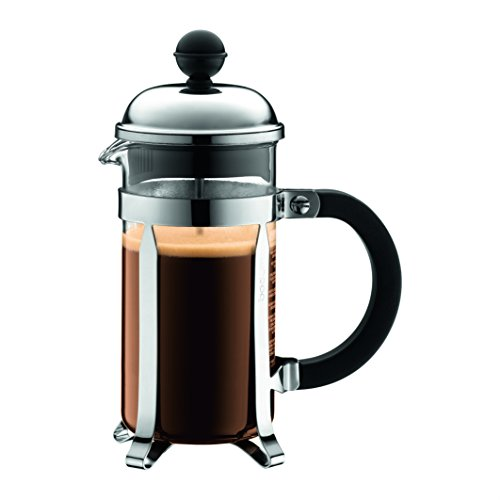 Bodum Chambord French Press Coffee Maker, Stainless Steel, Glass, 12 Ounce, .35 Liter, (3 Cup), Chrome