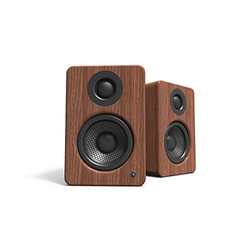 Kanto YU2 Powered Desktop Computer Speakers with Built-in USB DAC and S2 Desktop Speaker Stands - Pair (Walnut/Black)