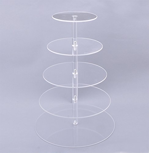 Oanon 5 Tier Round Clear Acrylic Cupcake Stand Wedding Display Cake Tower[US STOCK] (5 Tiers, Clear)
