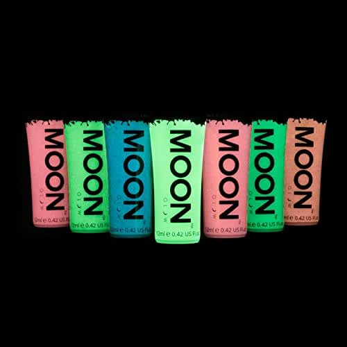Moon Glow – Glow in the Dark Face & Body Paint - 0.42oz Set of 7 – Phosphorescent - Charge to Glow - Blacklight Keyring included