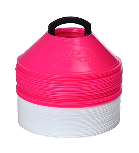 World Sport MINI Disc Cones 25 White / 25 Pink (50 Pack) by World Sport