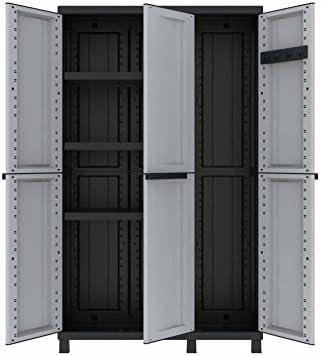Terry Twist Black 102a Armario multifunción de 3 Puertas con Dos Separados desarollo Horizontal con 3 estantes y un Compartimento con desarrolo en Vertical, Gris/Negro, 102x39x170 cm: Amazon.es: Bricolaje y herramientas