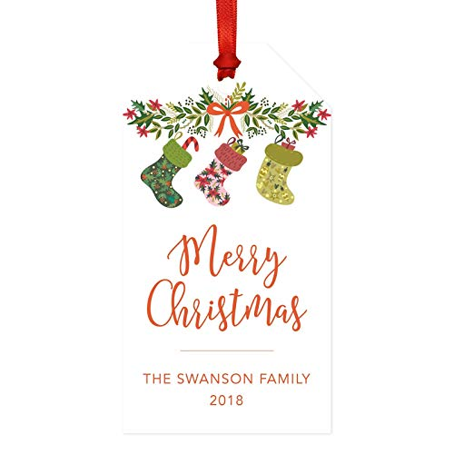 Andaz Press Personalized Christmas Classic Gift Tags, Fireplace Stockings, Merry Christmas 20-Pack, Custom Name Year