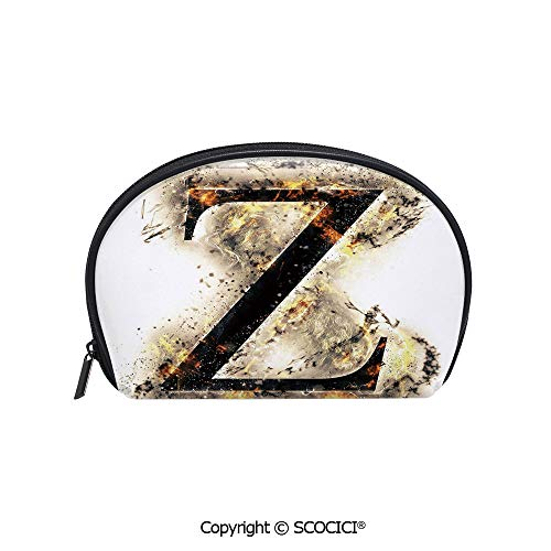 SCOCICI Durable Printed Makeup Bag Storage Bag Alphabet Character Capital Z in Burning Medieval Gothic Surrounded by Fire Decorative for Women Girl -