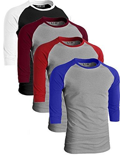 Ollie Arnes Men's Basic Crewneck 3/4 Sleeve Cotton T-Shirt Raglan Baseball Top BKWH_LTGBUR_LTGRED_LTGRBLU L 3/4 Raglan Sleeve Crew Shirt