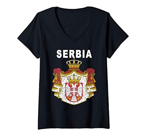 - Womens Serbian Emblem National Crest Design V-Neck T-Shirt