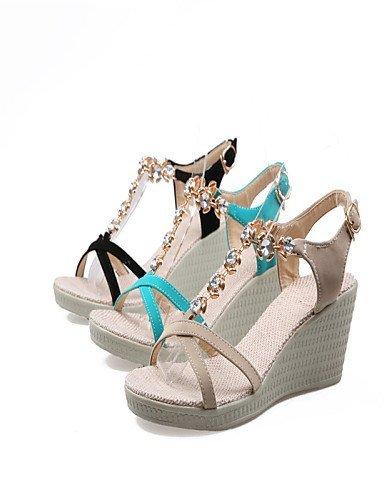 abierta de Negro Vestido Verde Beige Zapatos Negro mujer de punta Sandalias Wedges ShangYi Heel Wedge fZzFqw