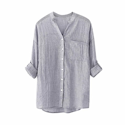 (Button Down Tops Stand Collar Linen Long Sleeve Shirt Casual Blouse for Women)