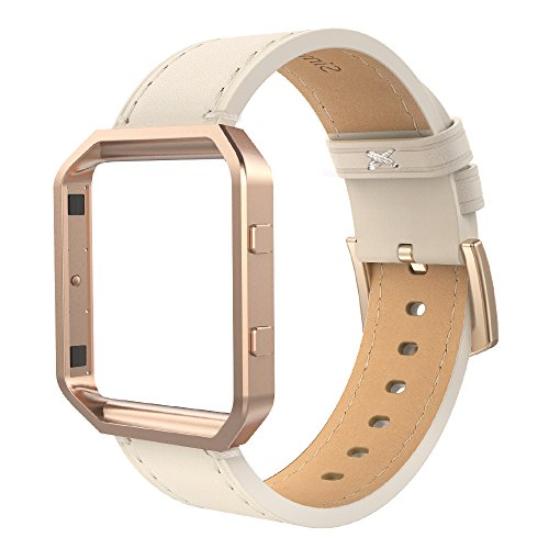 Simpeak Compatible for Fitbit Blaze Bands with Frame, Small, Multi Color, Genuine Leather Band for Fit bit Blaze Smartwatch Women Men, Beige Band + Rose Gold Metal Frame