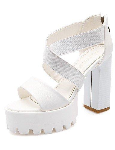 LFNLYX Zapatos de mujer-Tacón Robusto-Tacones / Comfort / Innovador / Punta Redonda / Botas a la Moda / Zapatos y Bolsos a Juego / Zapatillas- White