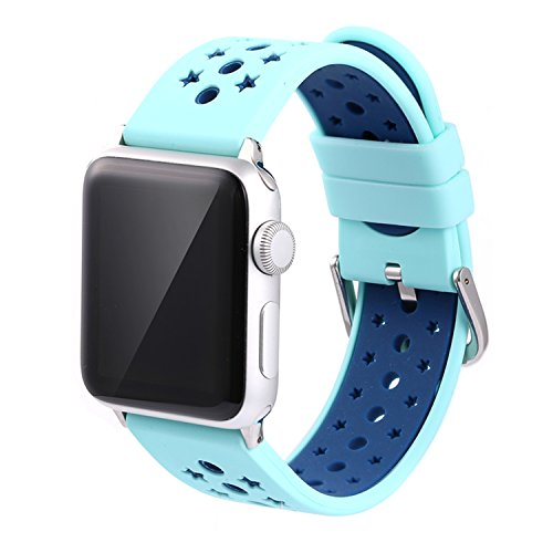 Apple Watch Band, Solomo iWatch Strap Stars Design Ventilation Holes Sport Replacement Wristband with Stripe Color Splicing Style for Apple Watch Series 3, Series 2, Series 1, Sport,Nike+ (42MM Azure) -  YuanHeng Digital Technology Co.,Ltd, AWBS-SDSB-TOP1-AB42